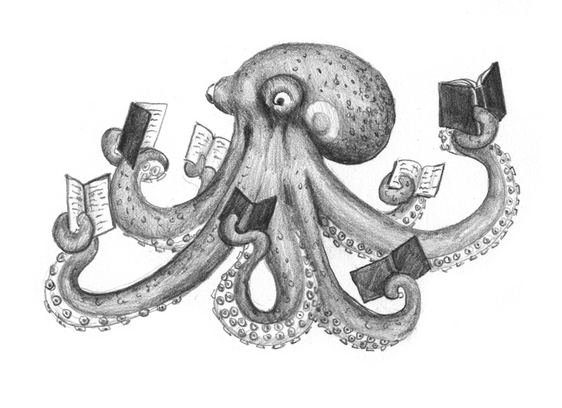 OctopusReadingSM Illustration Friday Underwater