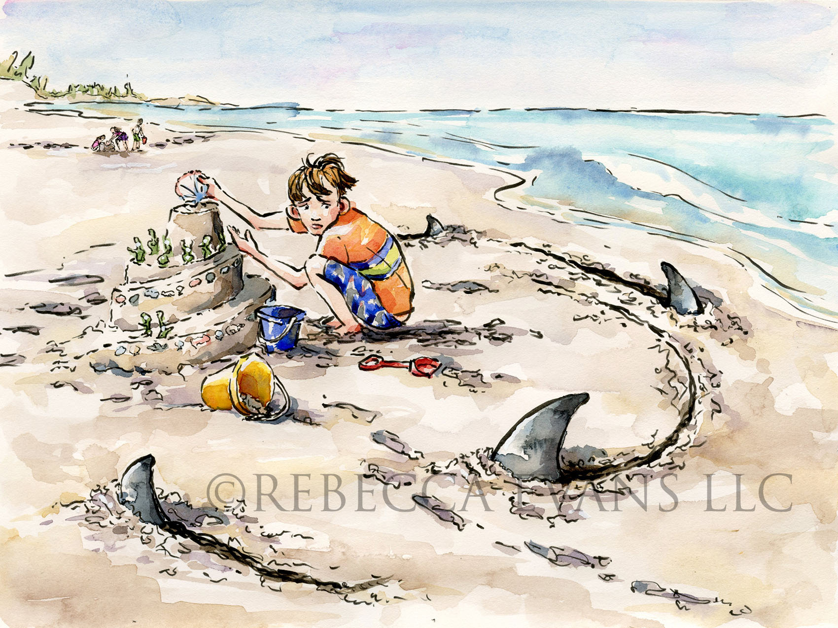 Boy playing at beach, sand sharks
